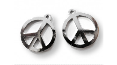 Colgante metalico simbolo de la paz 25x22 mm ( alta calidad)