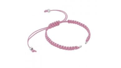 Pulsera base Rosa macrame con cierre nudo ajustable y detalles de acero