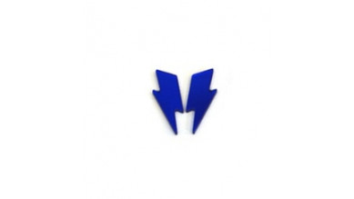 Aplique metacrilato plexy rayo grande 45x18 mm - Azul espejo- 2 uds