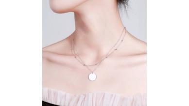 Collar gargantilla Plata de Ley doble - Cadena bolitas 40 cm y cadena con medallita (grabable) 45 cm