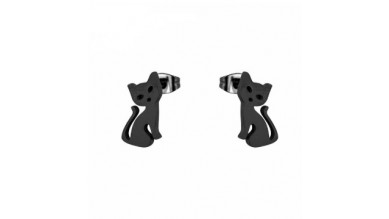 Gatos negros 10 mm - Pendientes acero inoxidable negro