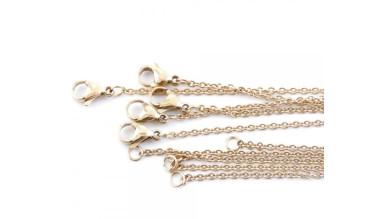 Cadena gargantilla fina de acero dorado eslabones 1.5 mm - 40 cm