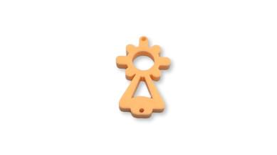 Plexy naranja pastel - Entrepieza Virgen del Pilar 25x13 mm