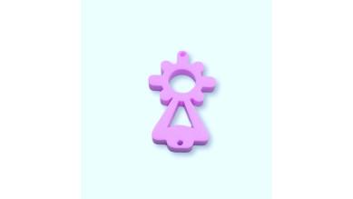 Plexy lila pastel - Entrepieza Virgen del Pilar 25x13 mm