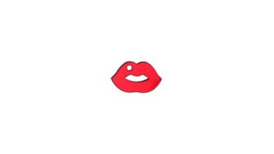 Plexy rojo espejo - Colgante labios 17x10 mm