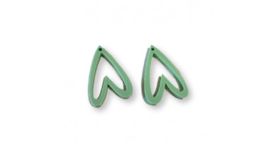 Aplique metacrilato plexy corazon verde pastel hueco invertido 29x19 mm, int 1.2mm  - 2 uds