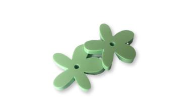 Plexy verde pastel - Colgante margarita  25 mm, int 1.2 mm
