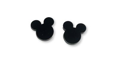 Plexy negro - Aplique silueta raton 15 mm para pegar ( ideal pendientes) 2 uds - 1 par