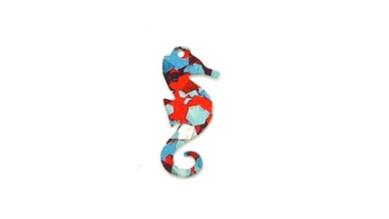 Colgante plexy caballito mar rojo-turquesa-morado mosaico 34x15 mm