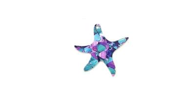 Colgante plexy estrella mar azul-turquesa-morado mosaico 34x32 mm
