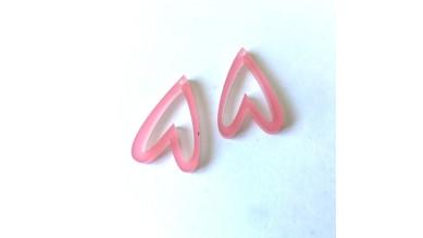 Aplique metacrilato plexy corazon rosa frost hueco invertido 29x19 mm, int 1.2mm  - 2 uds
