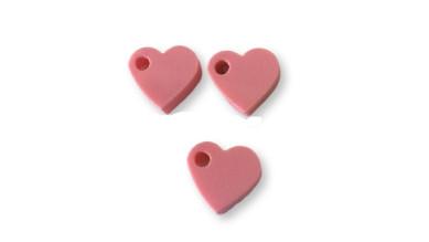Colgante mini corazon de plexy rosa pastel 7 mm- 1 unidad