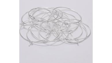 Base pendiente acero inoxidable plateado brillo - Aros 25 mm- 3 pares