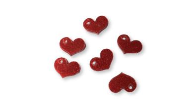 Plexy rojo glitter - Colgante corazon chato 17x15 mm, int 1.8 mm