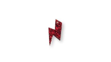 Plexy rojo glitter - Colgante rayo 20 mm, int 1.5 mm
