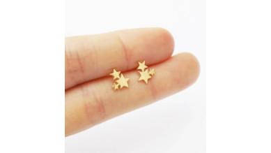 Tres estrellitas 10 mm - Pendientes acero inoxidable dorado- 1 par