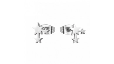 Tres estrellitas 10 mm - Pendientes acero inoxidable plateado (1 par)