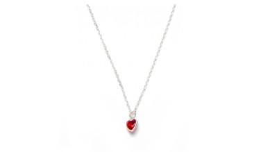 Circonita corazon rojo - Collar gargantilla Plata de Ley  38+4 cm
