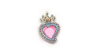 Plexy multicolor - Colgante corazon sagrado mexico 54x36 mm