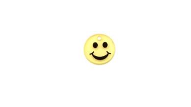 Plexy amarillo - Colgante moneda carita sonriente 15 mm