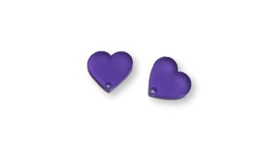 Aplique metacrilato plexy corazon morado 14x13 mm, int 1.2mm  - 2 uds
