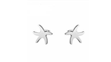 Estrellas mar 10 mm - Pendientes acero inoxidable plateado- 1 par