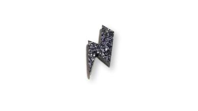 Plexy negro glitter - Colgante rayo 20 mm, int 1.5 mm