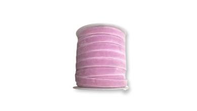Cinta  de terciopelo elastico 9 mm rosa vintage  ( 1 metro)