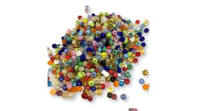 Rocalla cristal 6/0, 4 mm color MULTI (25 gramos)