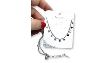 Choker mini 11 stars - Cadena gargantilla acero plateado 44 + 5 cm