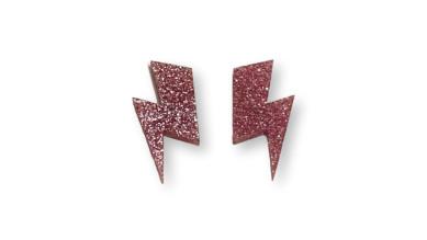 Aplique pegar plexy rayo grande  35x17 mm - Rosa Glitter - 2 uds