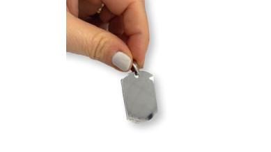 Chapa acero inoxidable placa militar para grabar pulida a doble cara 36x22 mm, grosor 1.8 mm
