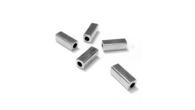 Entrepieza tubo cuadrado Zamak baño de plata 8x3 mm, int 1.8 mm